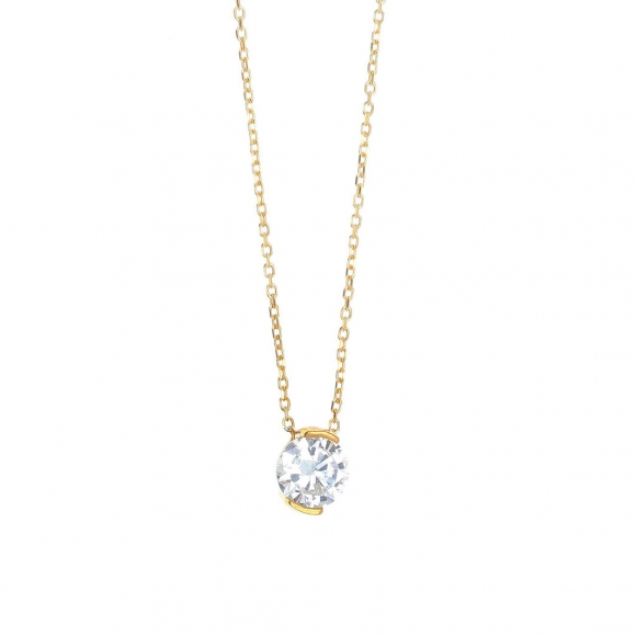 Necklace in silver 925 gold plated with white zirconia - Simply Me