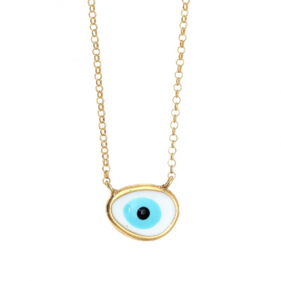 Necklace silver 925 gold plated, with enamel evil eye - Wish Luck