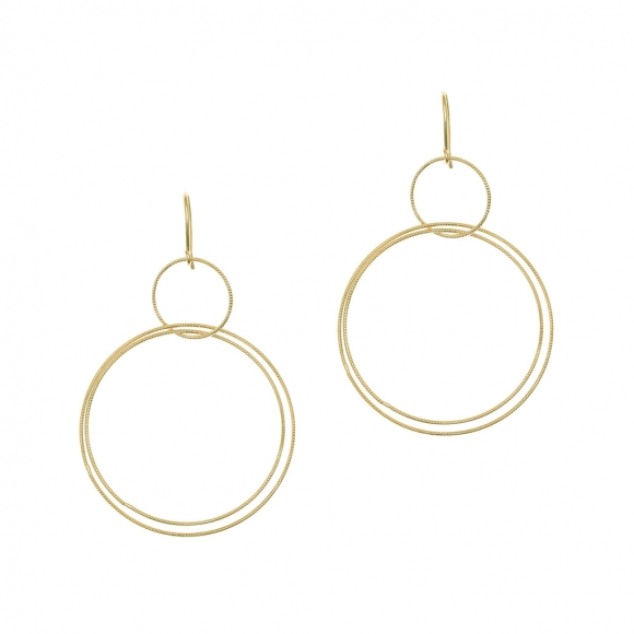Earrings in silver 925 yellow gold plated (7cm total lenght, circle size 4 cm) - Funky Metal