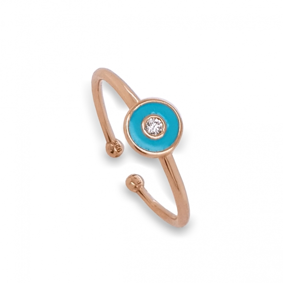 Δαχτυλίδι ασήμι 925 με ροζ επιχρύσωση και σμάλτο - Simply Me