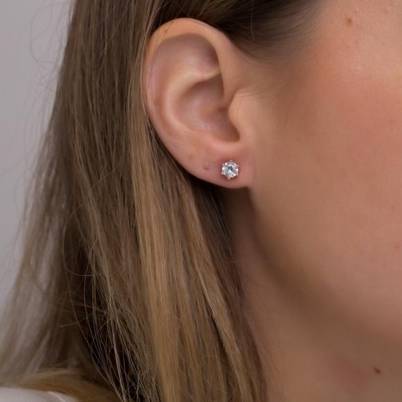 Σκουλαρίκια ασήμι 925 με ροζ επιχρύσωση &  με zirconia - Simply Me