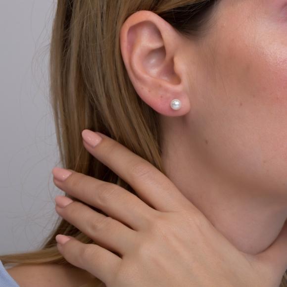 Σκουλαρίκια ασήμι 925 με ροζ επιχρύσωση &  με shell pearls - Simply Me