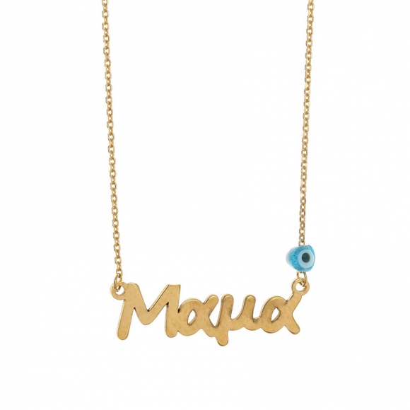 Necklace silver 925 gold plated & with evil eye - Wish Luck