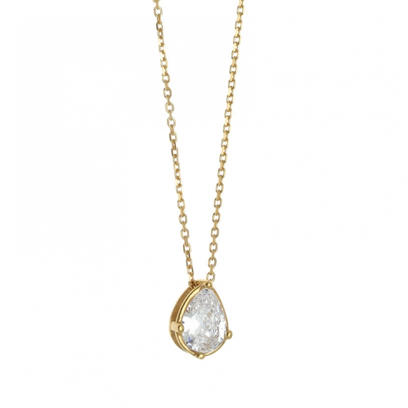 Necklace in silver 925 yellow gold plated with crystals - Simply Me