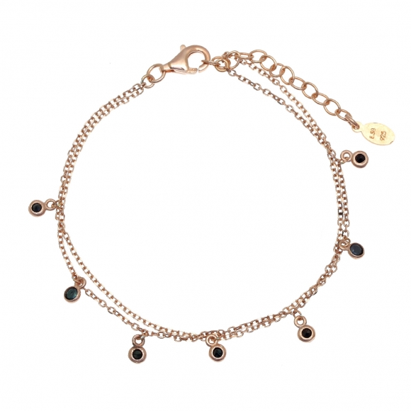 Bracelet silver 925 pink gold plated with zirconia - Simply Me