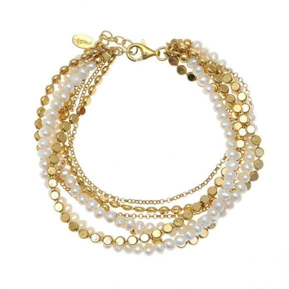 Bracelet silver 925 gold plated with fresh water pearls - Color Me