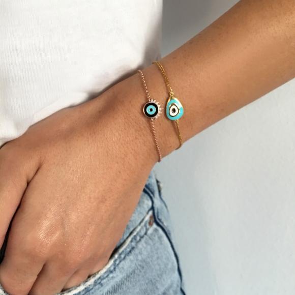 Βραχιόλι ασήμι 925 επιχρυσωμένο και μάτι από σμάλτο - Wish Luck