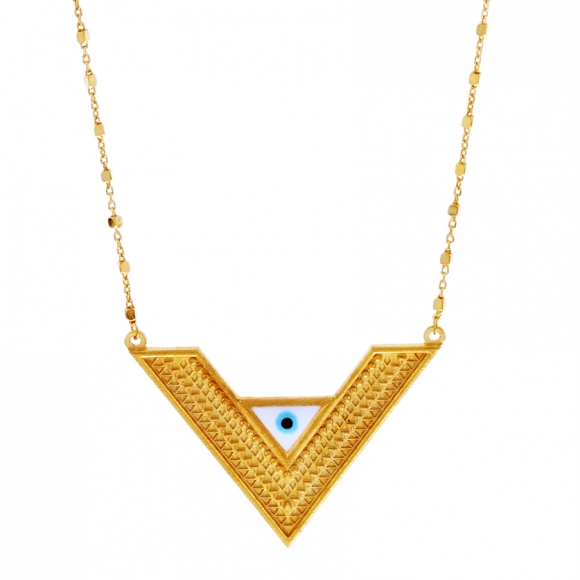 Necklace silver 925 yellow gold plated with enamel evil eye. - Vassia Kostara for GREGIO