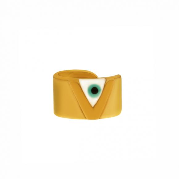 Σκουλαρίκια ασήμι 925 επιχρυσωμένο  με ματάκι - Vassia Kostara for GREGIO