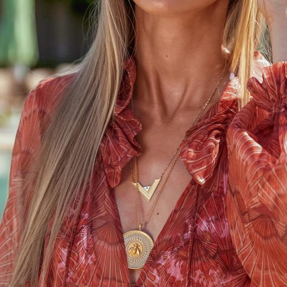 Κολιέ ασήμι 925 επιχρυσωμένο με ματάκι από σμάλτο. - Vassia Kostara for GREGIO