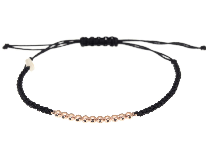 59a0057b65 Βραχιόλι ροζ χρυσό 14 καράτια με μπριγιάν black και κορδόνι ΣΒ 0
