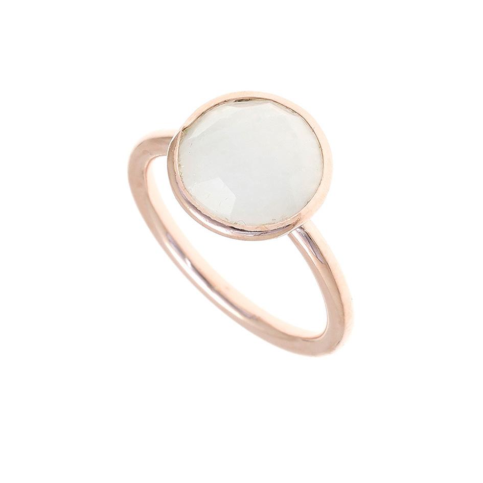 Δαχτυλίδι ασημένιο 925 με ροζ επιχρύσωση και φεγγαρόπετρα - Gregio ... 3ccd1d985fd