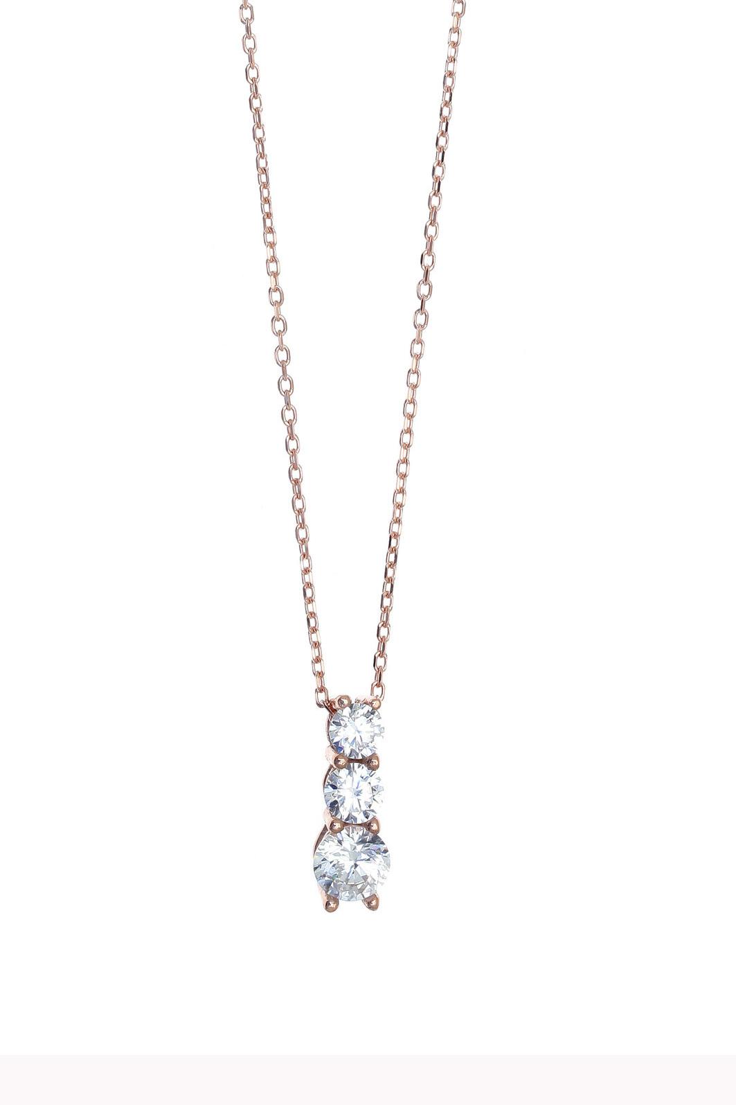 Κολιέ ασήμι 925 με ροζ επιχρύσωση   με συνθετικές πέτρες - Gregio in ... 81c01c7faf4