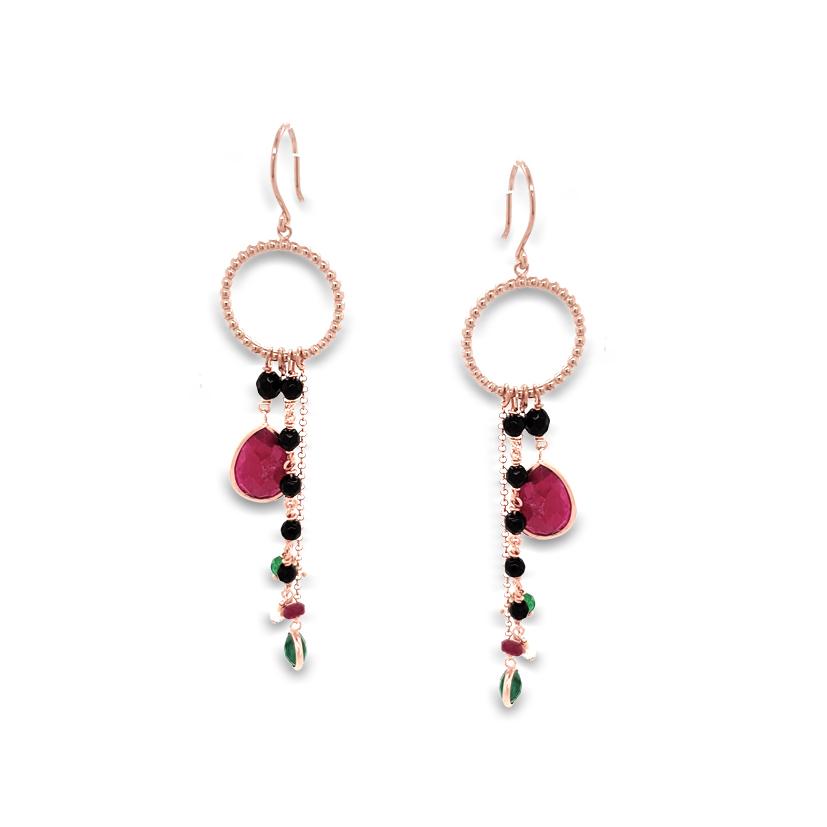 ΣΚΟΥΛΑΡΙΚΙΑ ασήμι 925 με ροζ επιχρυσωση και ορυκτες πετρες - Gregio ... 7d4d70fcd73