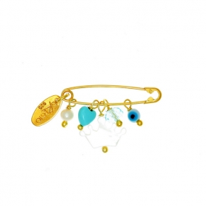 Brooche silver 925 yellow gold plated for newborns with turquoise and evil eye - Genesis Charms