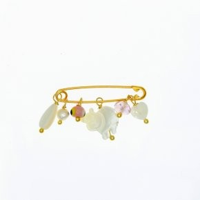 Brooche silver 925 yellow gold plated for newborns with pink hanging stones and evil eye - Genesis Charms