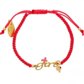 "Bracelet with cord silver 925 yellow gold plated with logo ""girl"" - Genesis Jewellery"