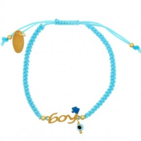 "Bracelet with cord silver 925 yellow gold plated with logo ""boy"" - Genesis Jewellery"