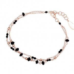 Bracelet silver 925, pink gold plated, and colored crystals - Rosario