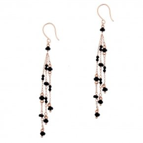 Earrings silver 925, pink gold plated and colored crystals - Rosario