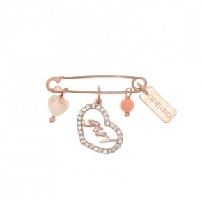 Brooche silver 925 pink gold plated with hanging charms - Genesis Charms