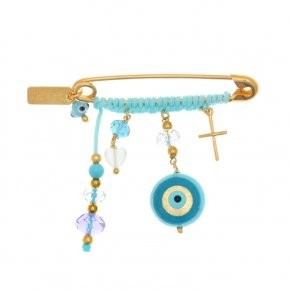 Brooche silver 925 yellow gold plated with hanging charms - Genesis Charms