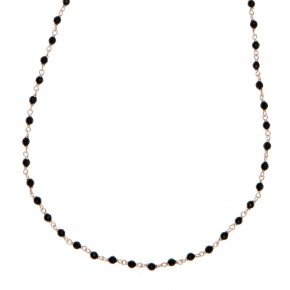 Necklace with chain silver 925, pink gold plated, and onyx - Rosario