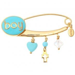 Pin in Silver 925 gold plated with hanging Charms and boy logo - Genesis Charms