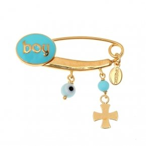 Pin in Silver 925 gold plated with hanging Charms and girl logo - Genesis Charms