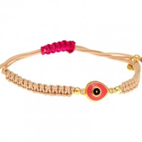 Cord Bracelet in silver 925, gold plated, with enameled evil eye shapedmotif - Genesis Jewellery