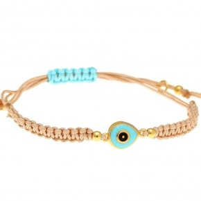 Cord Bracelet in silver 925 gold plated, with enameled evil eye shaped motif - Genesis Jewellery