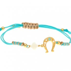 Cord Bracelet in silver 925, gold plated, with enameled horse shoe shaped motif andsynthetic stones - Genesis Jewellery