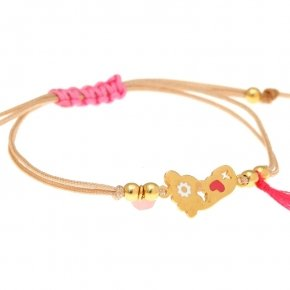 Cord Bracelet in silver 925 gold plated, with foot shaped motif - Genesis Jewellery