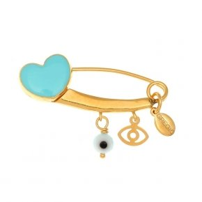 Pin in silver 925, gold plated with hanging Charms - Genesis Charms