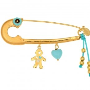 Pin in Silver 925 gold plated with hanging Charms - Genesis Charms