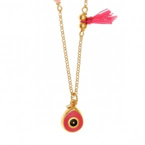 Chain Necklace in silver 925 gold plated, with enameled evil eye shaped motif and synthetic stones - Genesis Jewellery