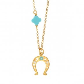 Chain Necklace in silver 925, gold plated, with horse shoe shaped motif and syntheticstones - Genesis Jewellery