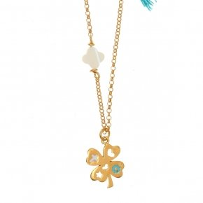Chain Necklace in silver 925, gold plated, with four leaf clover shaped motif and syntheticstones - Genesis Jewellery