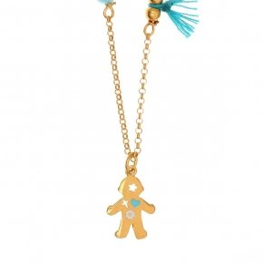 Chain necklace silver 925, gold plated, with boy shaped motif and synthetic stones - Genesis Jewellery