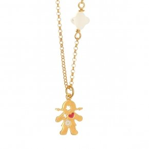 Chain Necklace in silver 925, gold plated, with girl shaped motif andsynthetic stones - Genesis Jewellery