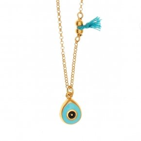 Chain Necklace in silver 925, gold plated, with enameled evil eye shaped motif andsynthetic stones - Genesis Jewellery