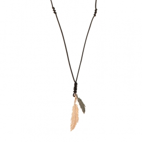 Necklace silver 925 , 90 cm with with adjustable length pink gold plated and black rhodium - Apopsis