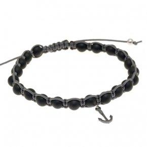 Bracelet silver 925 with black cord, matt onyx and black rhodium - Apopsis