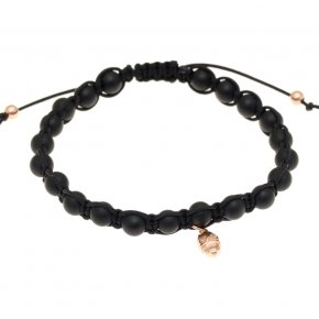 Bracelet silver 925 with black cord, matt onyx and pink gold plated - Apopsis
