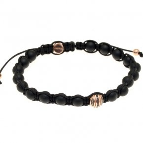 Bracelet in silver 925, pink gold plated with onyx - Apopsis