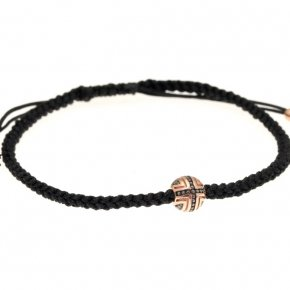 Bracelet silver 925 with black cord and pink gold plated - Apopsis