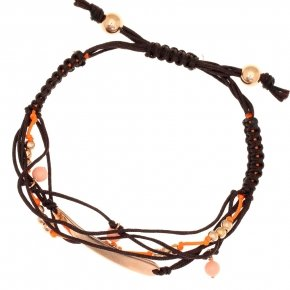 Bracelet silver 925, pink gold plated, crystals and cord - Outopia
