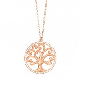 Necklace in silver 925 pink gold plated with white zirconia - Zoe