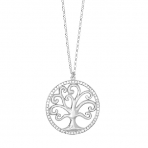 Necklace silver 925 rhodium plated & with white zirconia - Zoe