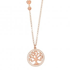 Chain necklace silver 925, pink gold plated and white zirconia - Zoe